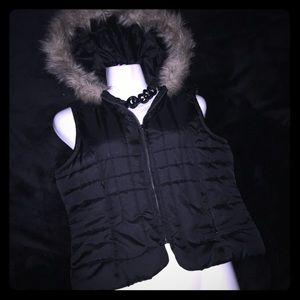 Jackets & Blazers - Winter Vest with Fur Hood